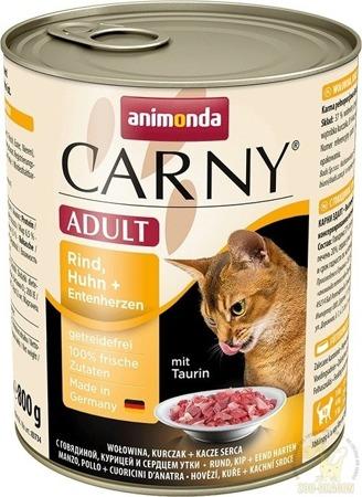 Animonda Cat Carny Adult příchuť: hovězí, kuřecí a kachní srdce 800g