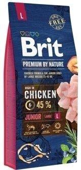 BRIT Premium By Nature Junior L 15kg + Let's Bite Chicken Fillet 80g ZDARMA!!!!!
