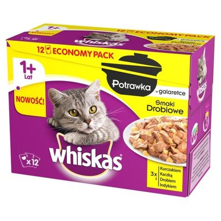 WHISKAS Adult 12x85g Drůbeží příchutě - mokré krmivo pro kočky v želé (kuře, kachna, drůbež, krůta)