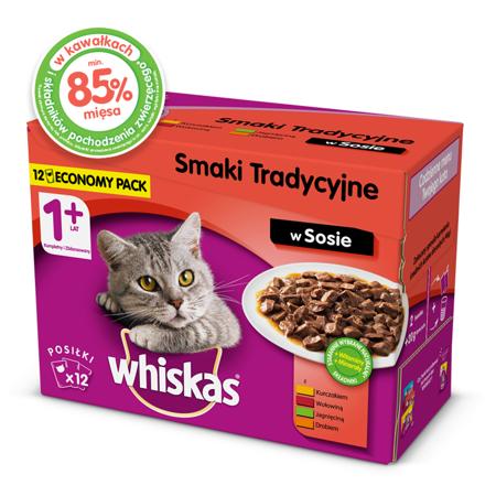 WHISKAS Adult kapsičky 12x100g Tradiční příchutě - mokré krmivo pro kočky v omáčce  (s kuřecím masem, hovězím masem, jehněčím masem, drůbeží)