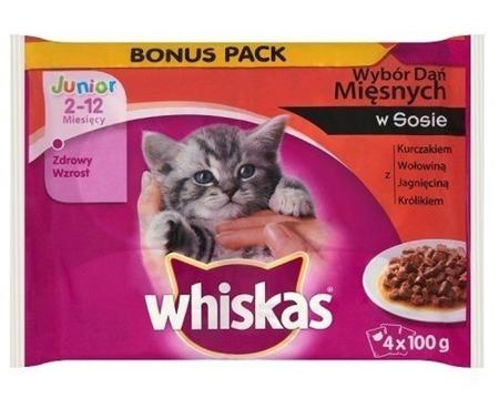 WHISKAS Junior sáček 4x100g Tradiční příchutě - mokré krmivo pro kočky v omáčce (kuře, hovězí, jehněčí, králík)